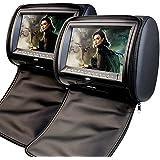 2 x 9 pulgadas EinCar digital de la pantalla de visualizaci¨®n Reposacabezas DVD Monitor de Soporte USB / SD / transmisor de infrarrojos / FM con los controladores de videojuegos