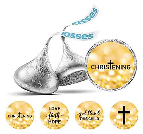 Darling Souvenir Taufe Thema Aufkleber Packung mit 190 Stück Hershey Kisses Schokolade Labels-Flitter Gold