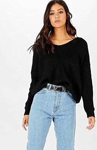 CoCo Fashion Damen Long Sleeve knitted pullover Casual Lose Lace Up Sweatshirt Top V-neck Knit Jumper Schwarz