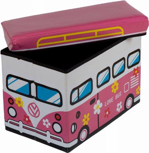 Bieco 4931304 Staubox und Sitzbank Love Bus, 49 x 31 x 31 cm -