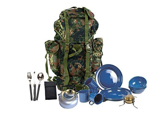 SET: Survival Set III Festival G8DS® BW BUNDESWEHR KAMPFRUCKSACK FLECKTARN 65 l Outdoor Army Trekking Rucksack Armeerucksack + Teekessel + Essbesteck faltbar + Geschirr + Campingkocher +