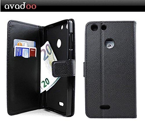 avadoo® Archos 55 Diamond Selfie Lite Flip Case Cover Tasche Schwarz mit Magnetverschluss und Dualnaht als Cover Tasche Hülle