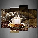 kxdrfz HD Stampa Home Decor Pittura Immagini Modulari 4 Pannello Chicco di caffè E Tazza Quadro Poster da Parete Moderna Soggiorno Soggiorno