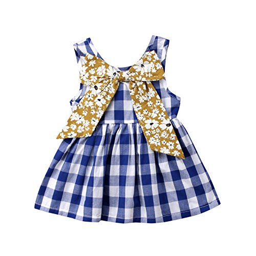ZXCVBN Blau Plaid Kleinkind Kinder Mädchen Sommerkleid Sleeveless Bogen Tutu Prinzessin Baby Formelle Festzug Party Kleider Sommerkleid Kleidung,4 t