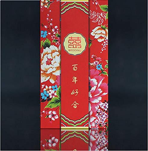 Doppel-brieftasche (BC Worldwide Ltd 6 Pfingstrose Blume roten Umschlag Geld Paket Papier Brieftasche Hong Bao Doppel Glück Hochzeitsgeschenk, Engagement, Brautdusche Partei, orientalische Vintage)