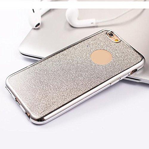 Cuitan TPU Glitter Housse Case pour Apple iPhone 6 / 6s (4,7 Inch), Galvanoplastie Bling Shiny Retour Housse Back Cover Protecteur Etui Coque Cover Shell pour iPhone 6 / 6s (4,7 Inch) - Argent Argent