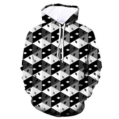 Xmiral Herren Slim Fit Hoodie Lange Ärmel Kapuzenpullover 3D Druck Farbig Sweatshirt Pullover Hooded Streetwear Hemden Strickwaren(h Schwarz,3XL)