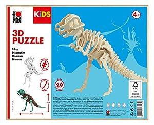 Marabu 0317000000021 Kids 3D - Puzzle de Madera (29 Piezas), diseño de Dinosaurios T-Rex 23,5 x 32 cm, Color marrón