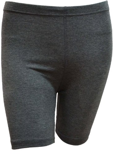 LADIES STRETCHY COTTON LYCRA ABOVE KNEE SHORTS ACTIVE LEGGING (SMALL, CHARCOAL)