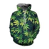 PERAYING 3D Weed Leaf Men's Hoodies Women Sweatshirt Plus Size Hooded Pullover