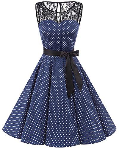 bbonlinedress 1950er Ärmellos Vintage Retro Spitzenkleid Rundhals Abendkleid Navy White Dot M