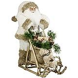 JEMIDI Weihnachtsmann mit Schlitten - Nikolaus Figur Holz Weihnachts Santa 50cm/45cm/30cm (Benedikt 50cm)