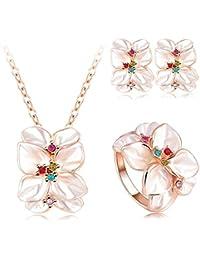 AnaZoz Joyería de Moda 18K Chapado en Oro Chapado en Oro Rosa Cristal Austria Esmalte Juego de Flor Pendiente/Collar/Anillo