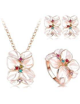 AnaZoz Schmuck 18K Vergoldet Rose Gold Österreichische Kristall Emaille Blumen Set Ohrring Halskette Ring