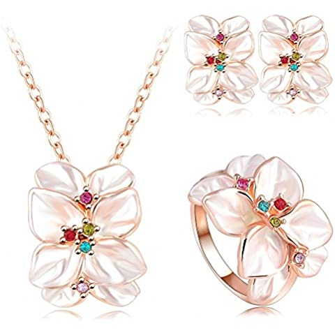 AnaZoz Joyería de Moda 18K Chapado en Oro Chapado en Oro Rosa Cristal Austria Esmalte Juego de Flor
