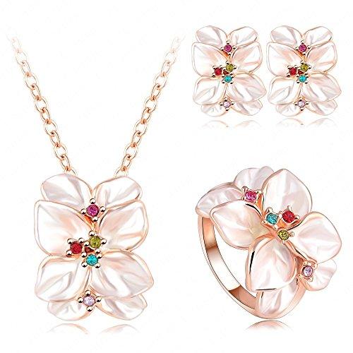 AnaZoz Joyería de Moda Juegos de Joyas de Mujer 18K Chapado en Oro y Oro Rosa Cristal Austria Juego de Flor Pendiente/Collar/Anillo Tamaño 11