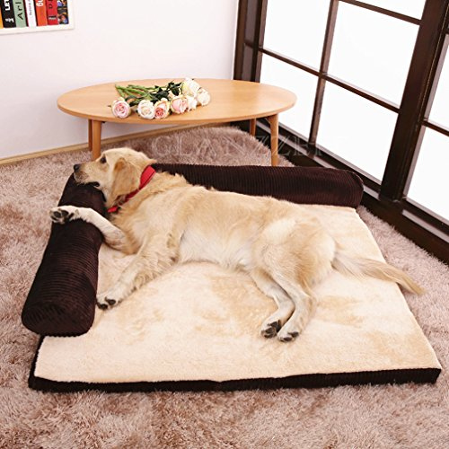 Glanzzeit Cuddly Rectangular Sofa Bed Deluxe Bolster Pet Bed for Cats Dogs S to XL
