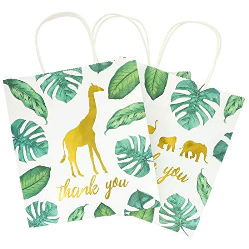 Juvale 12 unidades de bolsas de regalo de agradecimiento de animales de safari de la jungla y 20 hojas de papel blanco para baby shower, 9 x 8 x 4 pulgadas