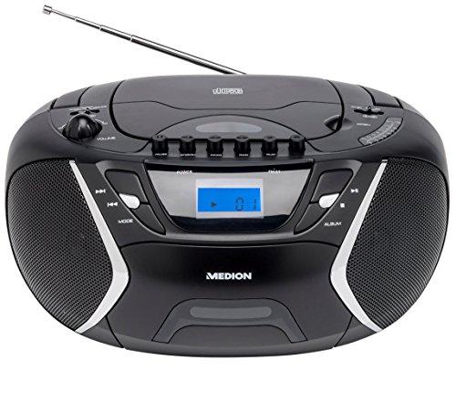 MEDION E65073 MP3 Stereo Sound System, Kassette MC, CD-Player, Aux-Anschluss, UKW Radio, 2x10 Watt, Schwarz