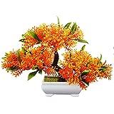 Flikool Mini Künstliche Blumen mit Topf Künstliche Pflanzen mit Pot Gefälschte Künstliche Bäume Simulation Topfpflanzen Bonsai Kunstblumen Kunstpflanzen Ornaments Dekorationen - Orange