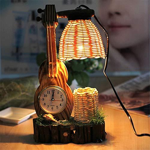 Nachttischlampe für Kinder, Schreibtischlampe Studium und Büro Tischlampe lesen Haushalt Restaurant Cafe Dekoration Bambus,Beige