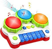 Musical Toys, Music Piano Keyboard Drums Learning Toy for Kids, Baby Drum Set Music Toy- Kids Educational Game
