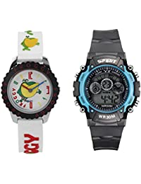 Fantasy World White Watch And Sport Watch Combo For Boys And Girls