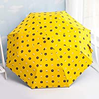 GANXIA HOME Tri-fold Brown Bear Umbrella Black Sunscreen Sun umbrella Men and women Dual-use Umbrella UV Sunshade