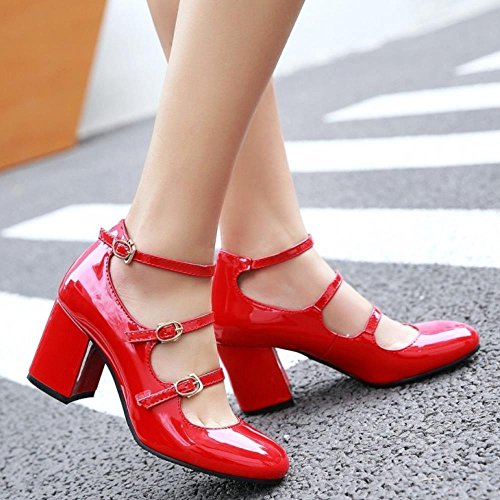 COOLCEPT Damen Klassische Strappy Schuhe Block High Heels Ladies Mary Janes Pumps Rot