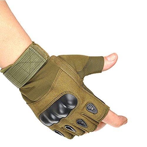 CHLNIX Herren Halbfinger Harter Knöchel Taktische Handschuhe Fingerlose Handschuhe Arbeitsausrüstung für Camping Wandern Radfahren Klettern