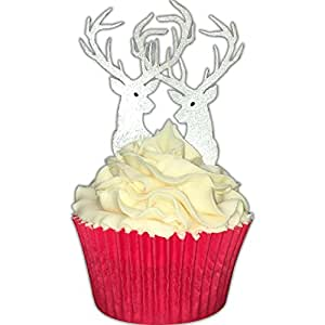 Pack of 12 Perfectly Laser Cut Edible Wafer Lustered Stag Decorations by CDA Products 201-911 Great as Cupcake Toppers or to Decorate Any Christmas Cake