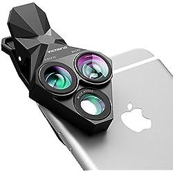 VicTsing Objectif Téléphone Universel 3 en 1 Kit Lentille 0.65X Grand Angle + Fisheye + 20X Super Macro HD Professionnel Durable pour iPhone, Huawei, Blackberry, Sony et Autres Smartphones