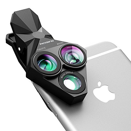 Lente para Movil de VicTsing, 3 en 1 Clip-On Ojo de Pez, 0.65x Super Gran Angular Kit de Lentes+20x Super Macro Lens HD Fish Eye para iPhone, Xiaomi, Huawei y Otros Teléfonos Inteligentes