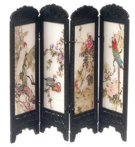 Preisvergleich Produktbild Puppenhaus Miniatur Chinese Boudoir Umkleide Trennwand Exotische Vögel Design 8132
