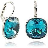 Ohrringe mit Kristallen von Swarovski® - Silber Indicolite Petrol Blau - Made in Germany