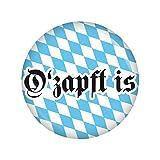 Kiwikatze® Fest - O'zapft is Button Ansteckbutton 37mm Oktoberfest Wiesn Volksfest für Dirndl oder Lederhose