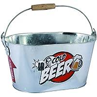 OOTB Cubo de Metal Ovalado,Cold Beer, con Asa y Manilla de Madera, Aluminio, Plateado, 26 x 13 x 4 cm