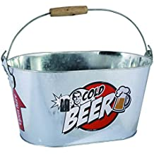 OOTB Cubo de Metal Ovalado, Cold Beer, con asa y Manilla de Madera,