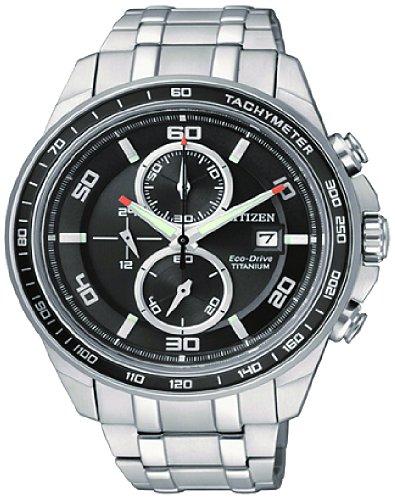 Citizen Herren-Armbanduhr XL Super Titanium Chronograph Quarz Titan CA0340-55E