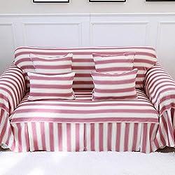 ZY Cojín del sofá/Fundas de sofá de 1 Pieza, Estilo Europeo/A Rayas/Protector para 3 Cojines Sillón de sofá y Loveseat/Decoración del hogar Red 200 * 200cm(79x79inch)