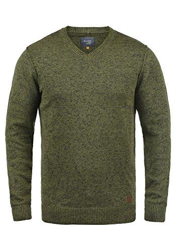 Blend Dansel Herren Strickpullover Feinstrick Pullover Mit V-Ausschnitt Und Melierung, Größe:L, Farbe:Burnt Olive (77011)