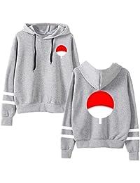28014537f2f3 EMILYLE Homme Sweat-Shirt Naruto Uchiwa Pull Hokage Ninja Samouraï Manga  Otaku Manches Longues