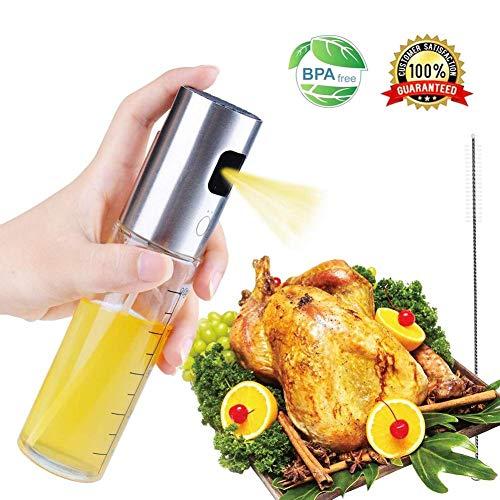 Enjoyyouselves Olivenöl Sprayer Lebensmittelqualität Glas Mehrwegöl Sprühflasche Ölspender für BBQ, Salat, Küche Backen, Braten Machen (Skala)
