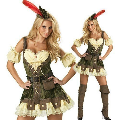 Damen Kostüm Verkleidung Deluxe Robin Hood Erwachsenes Kostüm Outfit - EU 36-38 (Deluxe Robin Hood Kostüme)