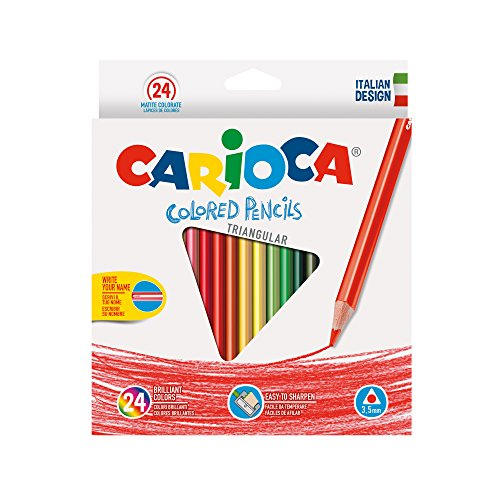 Carioca 42516 - confezione triangolare 24 matite, colorate, facili da temperare