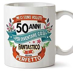 Idea Regalo - MUGFFINS Tazza Compleanno 50 Anni - Idee Regali Originali et Divertenti per Uomo e Donna - per lui/per lei. Ceramica 350 mL
