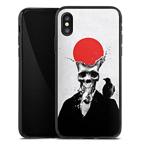 Apple iPhone X Silikon Hülle Case Schutzhülle Schädel Totenkopf Skull Silikon Case schwarz