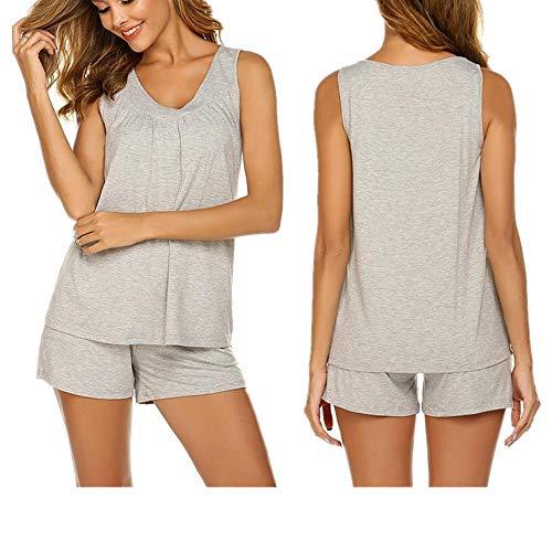 Unibelle Damen Einfarbige Schlafanzug Pyjama Set, Zweiteiliger Modal Kurzarm Nachtwäsche Nachthemd Hausanzug Hellgrau L (Damen Modal Pyjama-sets)