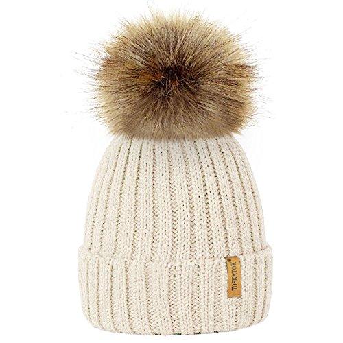 TOSKATOK® Invierno de Las Mujeres Costilla Punto Hat/Beanie con Desmontable de Piel Falsa Chunky Pom Pom Bobble-Cream