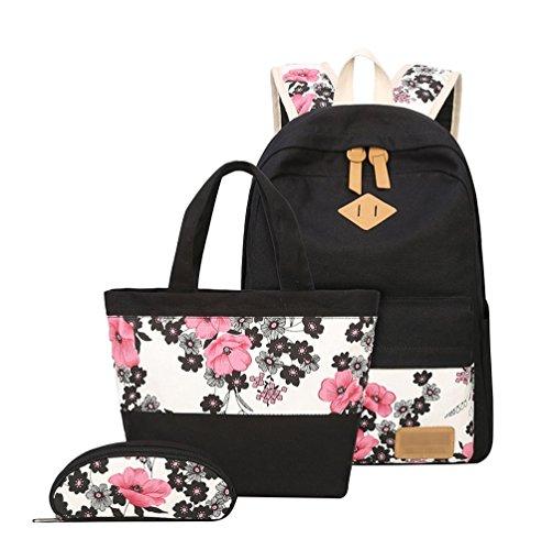 Lounayy 3 Teilig Schulrucksack Mädchen Schultaschen Vintage Blumen Canvas Schulrucksack Und Taschen Und Mäppchen Jugendliche (Color : Schwarz)